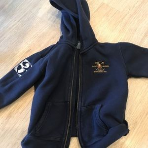 Polo 24 month hooded sweatshirt w number 3 on arm